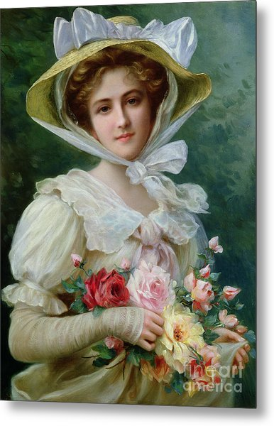 Elegant Lady With A Bouquet Of Roses Metal Print
