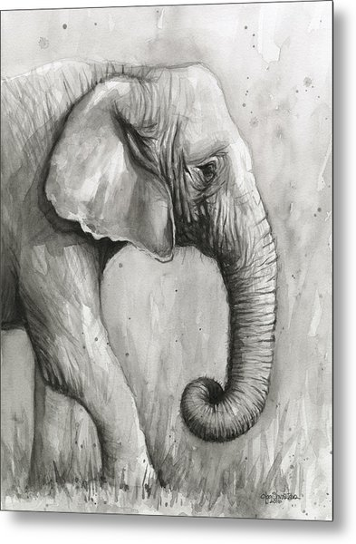 Elephant Watercolor Metal Print