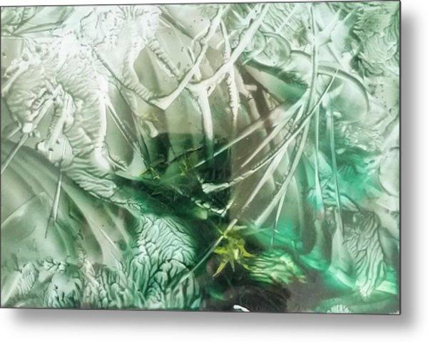 Encaustic Abstract Green Foliage Metal Print