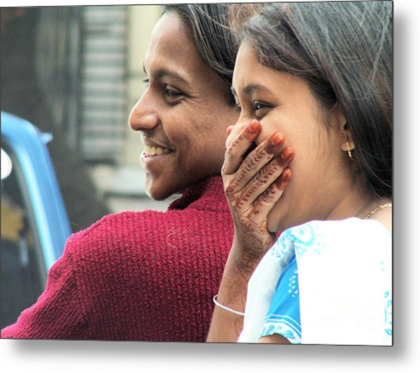 Faces Of India - Happy Couple Metal Print by Steve Rudolph