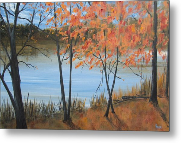 Fall N Lake Metal Print by Pete Maier
