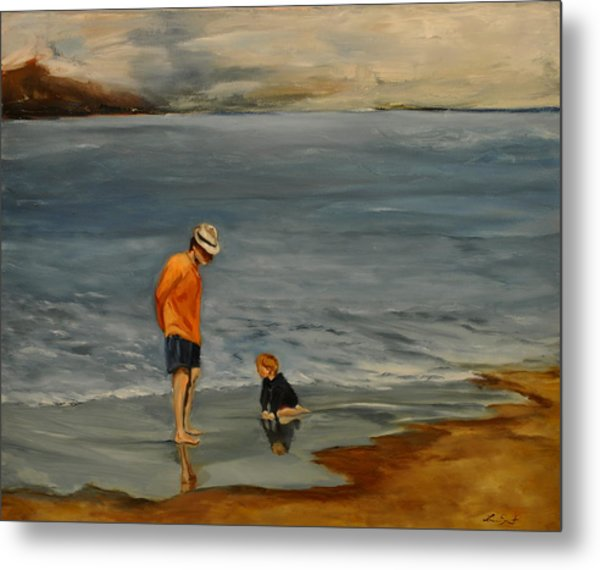 Family On Beach Metal Print