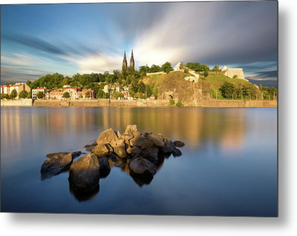 Famous Vysehrad Church During Sunny Day. Amazing Cloudy Sky In Motion. Vltava River, Prague, Czech Republic Metal Print