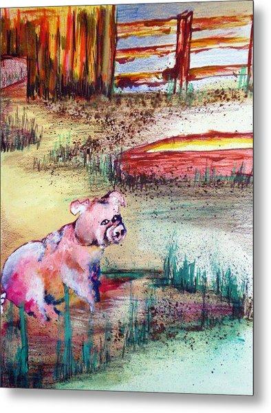 Farm Piggy Metal Print by Tammera Malicki-Wong