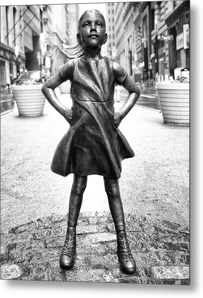 Fearless Girl Bnw Metal Print