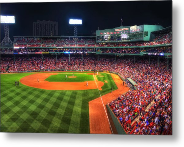 Fenway Park At Night - Boston Metal Print