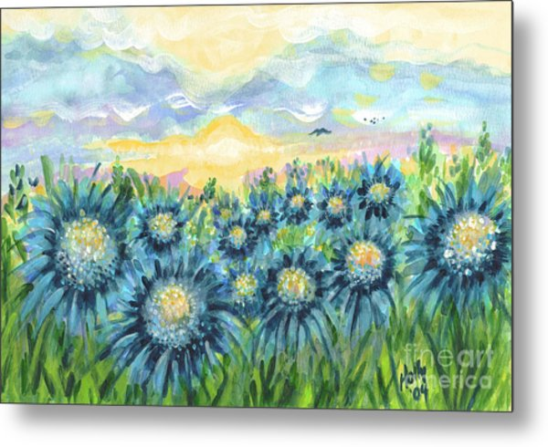 Field Of Blue Flowers Metal Print