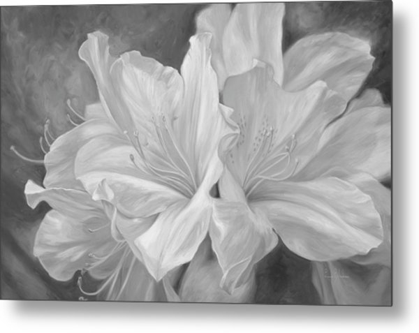 Fleurs Blanches - Black And White Metal Print