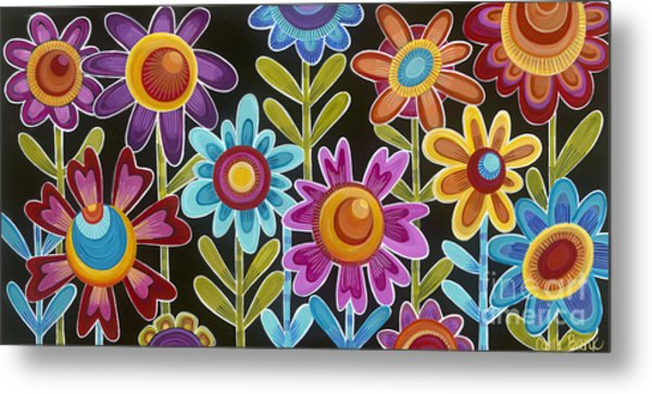 Metal Print featuring the painting Flower Power by Carla Bank