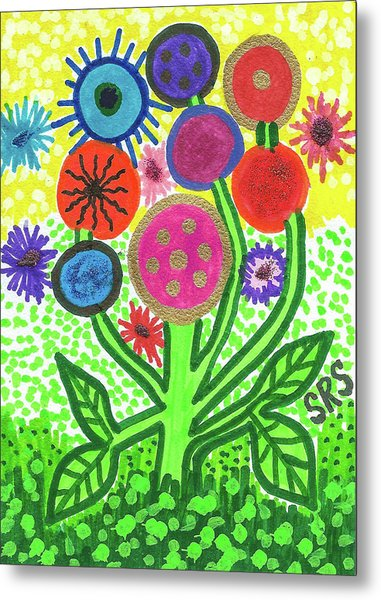 Flowers In The Round 9.7 Metal Print