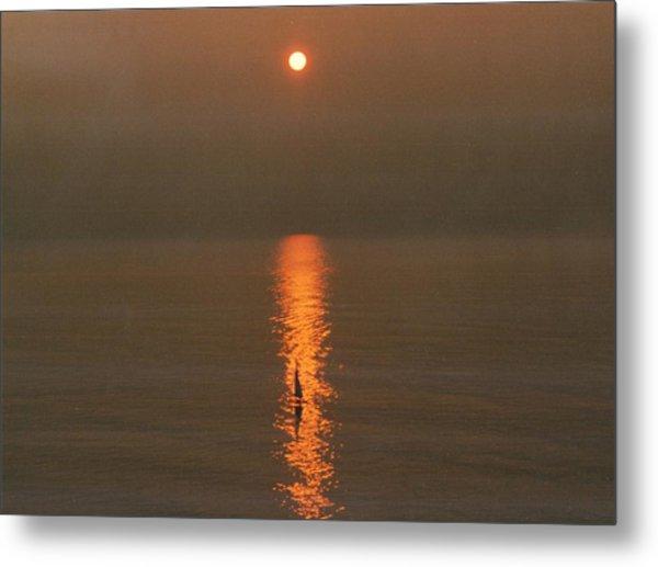 Foggy Sunrise On Virginia Beach Metal Print