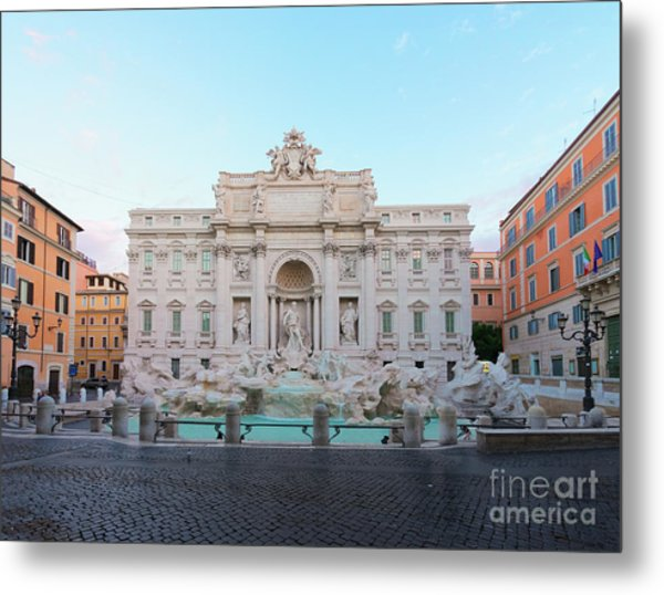 Fountain Di Trevi And Sunrise, Rome Metal Print