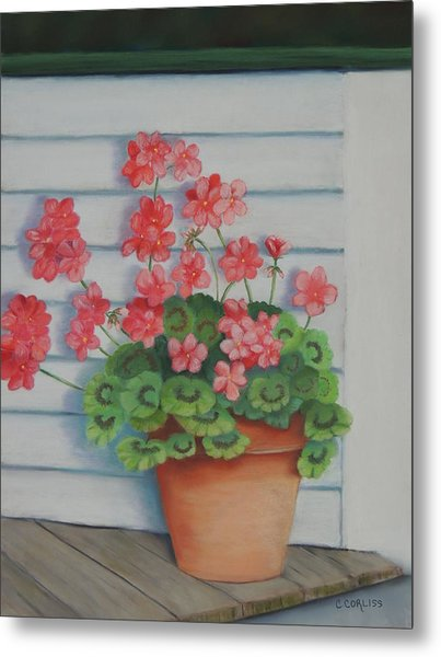 Front Porch Geraniums Metal Print