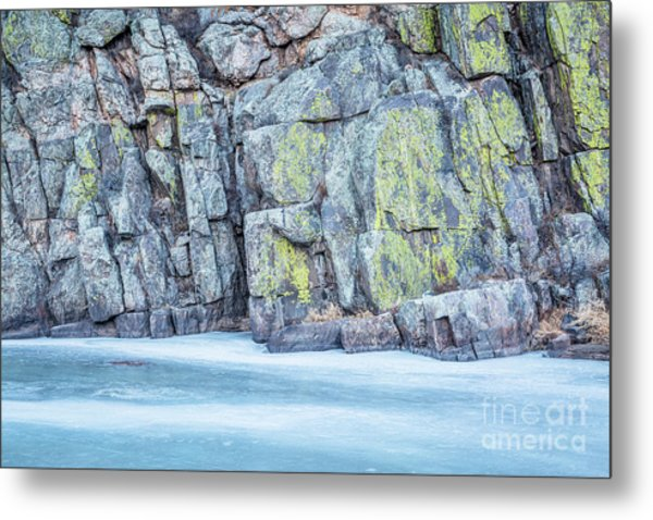 Frozen River And Rocky Cliff Metal Print