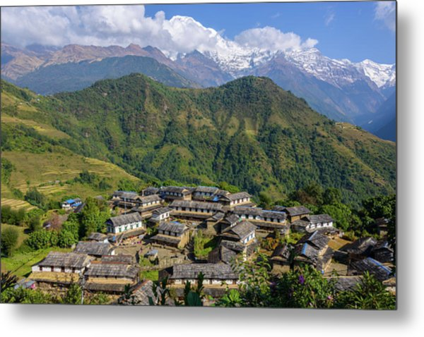 Ghandruk Village In The Annapurna Region Metal Print