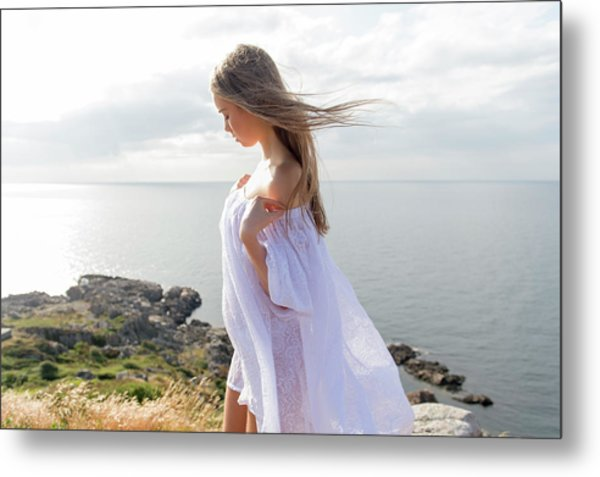 Girl In A White Dress By The Sea Metal Print