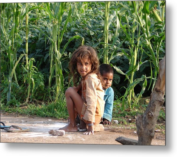 Girls In Her Own Field With Her Younger Brother Metal Print by Sandeep Khanwalkar