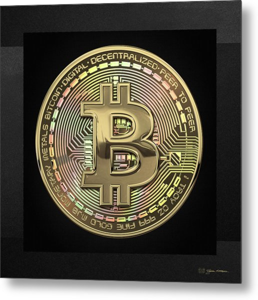 Gold Bitcoin Effigy Over Black Canvas Metal Print