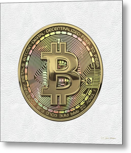 Gold Bitcoin Effigy Over White Leather Metal Print