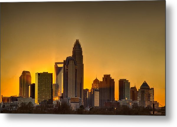 Metal Print featuring the photograph Golden Charlotte Skyline by Alex Grichenko