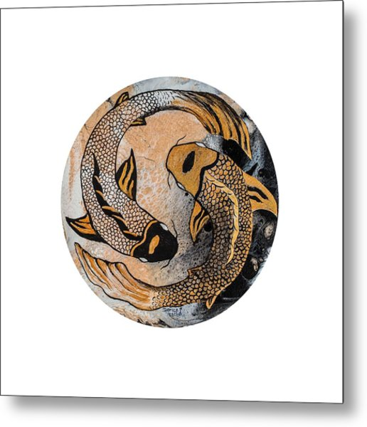Metal Print featuring the painting Golden Yin And Yang by Darice Machel McGuire