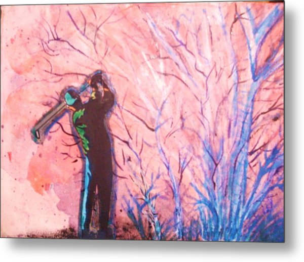 Golfer In The Pink For Par II Metal Print by Anne-Elizabeth Whiteway