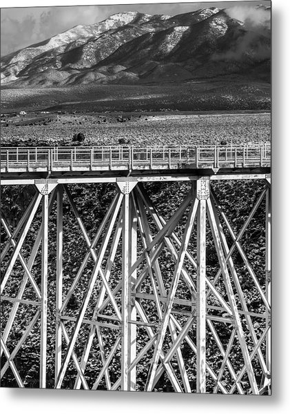 Gorge Bridge Black And White Metal Print