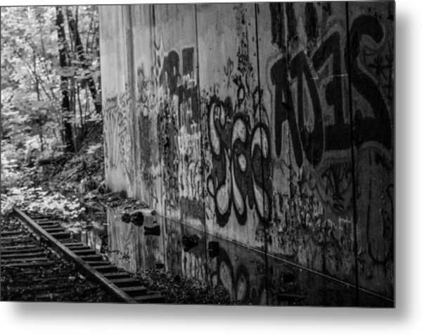 Graffitti And Train Tracks Metal Print