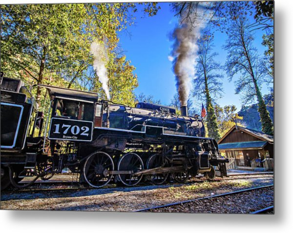 Metal Print featuring the photograph Great Smoky Mountains Rail Road Autumn Season Excursion by Alex Grichenko