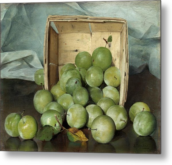 Green Plums Metal Print
