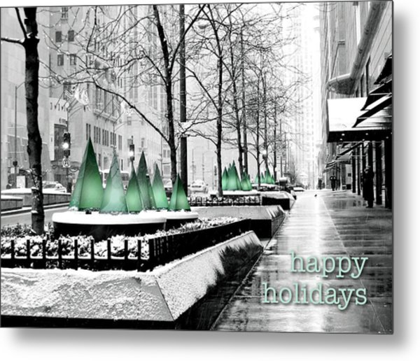 Happy Holidays From Chicago Metal Print