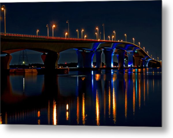 Hathaway Bridge At Night Metal Print