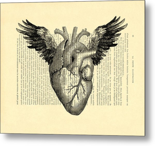 Heart With Wings Metal Print