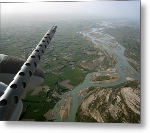 Helmand River Valley From The Air Metal Print