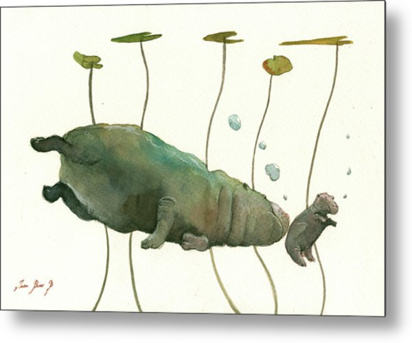 Hippo Mom With Baby Metal Print