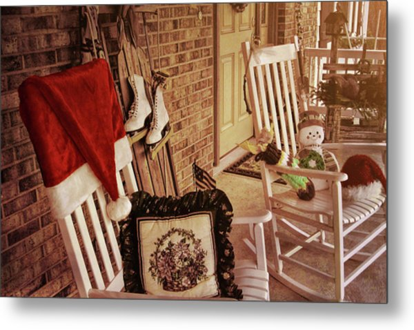 Holiday Porch Decorated Metal Print by JAMART Photography