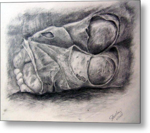 Homeless Feet Metal Print