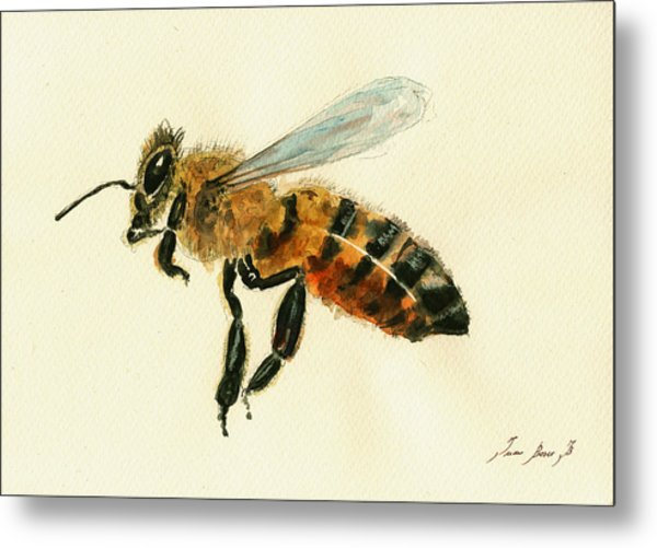Honey Bee Watercolor Painting Metal Print