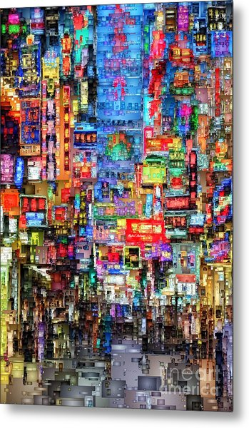 Hong Kong City Nightlife Metal Print