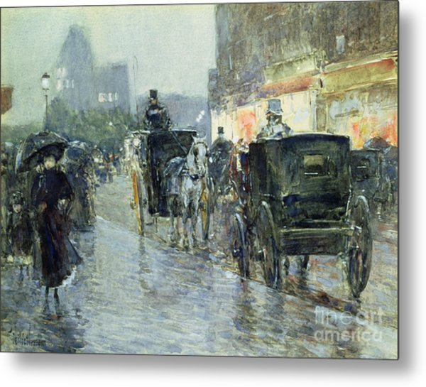 Horse Drawn Cabs At Evening In New York Metal Print