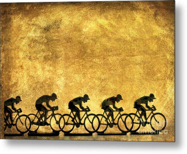 Illustration Of Cyclists Metal Print