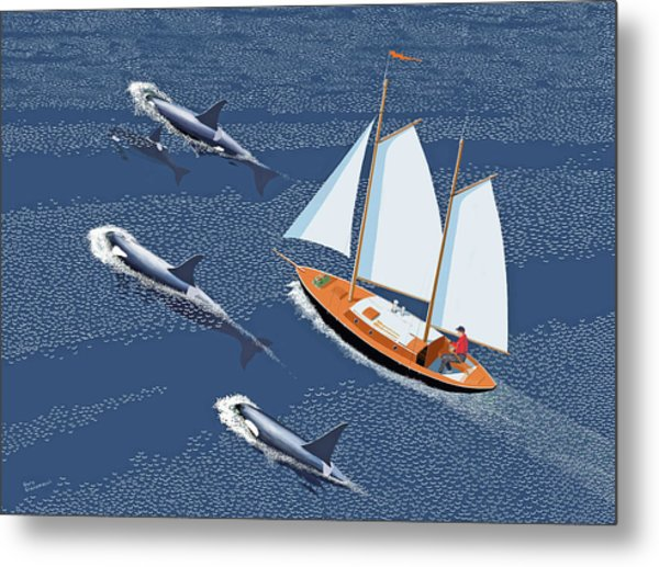 In The Company Of Whales Metal Print