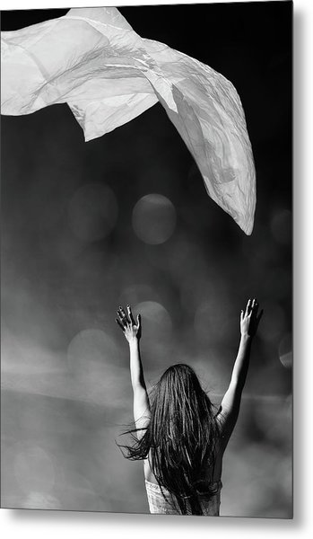 Into The Atmosphere - Black And White Metal Print