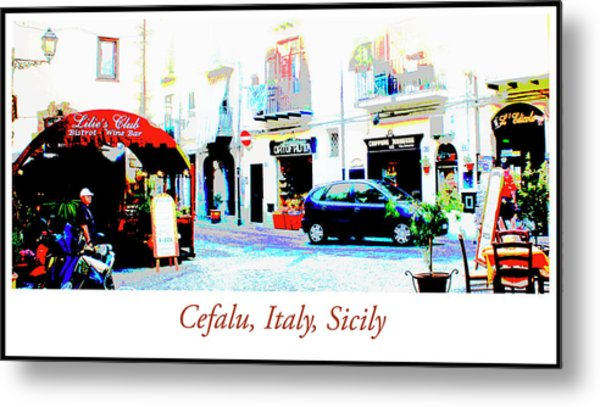 Italian City Street Scene Digital Art Metal Print