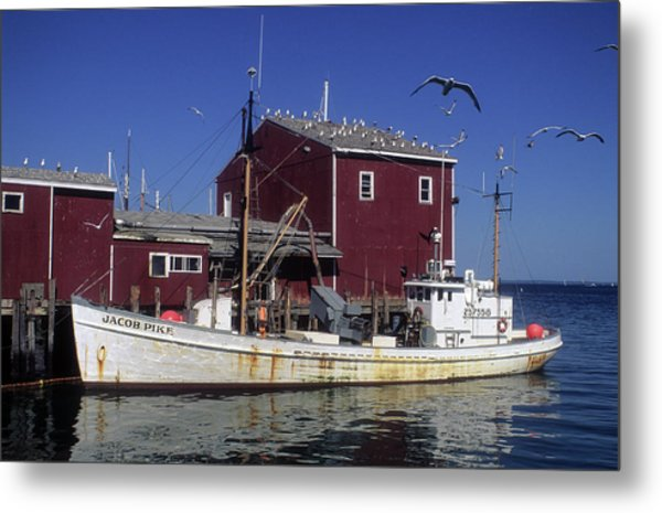 Jacob Pike Fishing Boat In Maine Metal Print by Carl Purcell