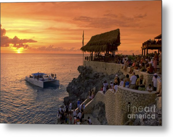 Metal Print featuring the photograph Jamaica Negril Ricks Cafe by Juergen Held