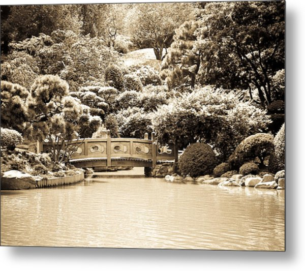 Japanese Hill And Pond Garden New York Metal Print