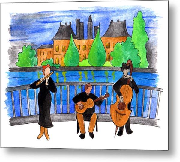 Jazz Trio On Pont Ile Saint Louis Metal Print