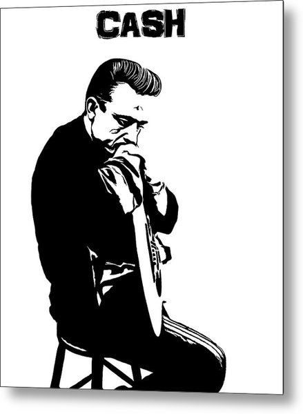 Johnny Cash Black And White Metal Print