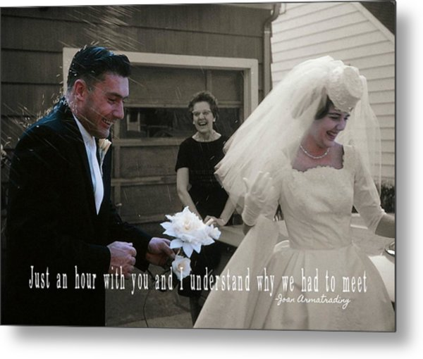 Just Married Quote Metal Print by JAMART Photography